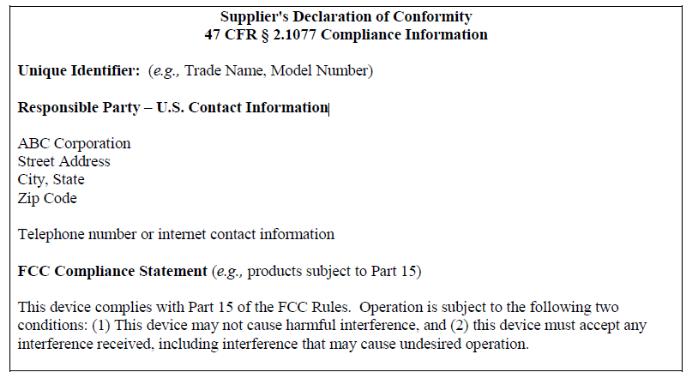 FCC SDOC模板要求